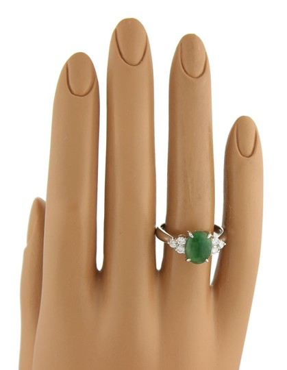 Other Platinum 2.53ct Diamond & Oval Jade Ring Image 1