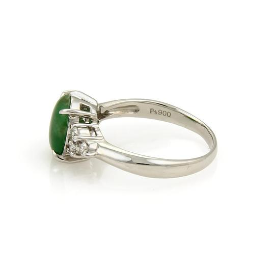 Other Platinum 2.53ct Diamond & Oval Jade Ring Image 2