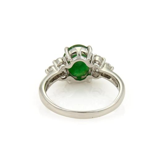 Other Platinum 2.53ct Diamond & Oval Jade Ring Image 3