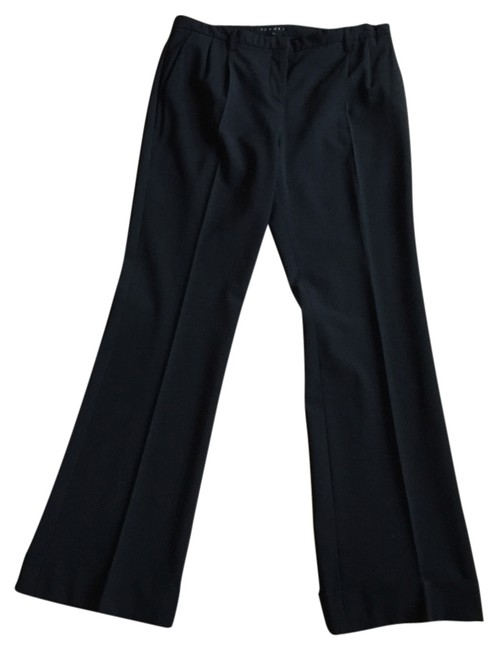 Theory Classic Wool Stretchy Wear To Work Career Cuffed Pleated Trouser Pants black