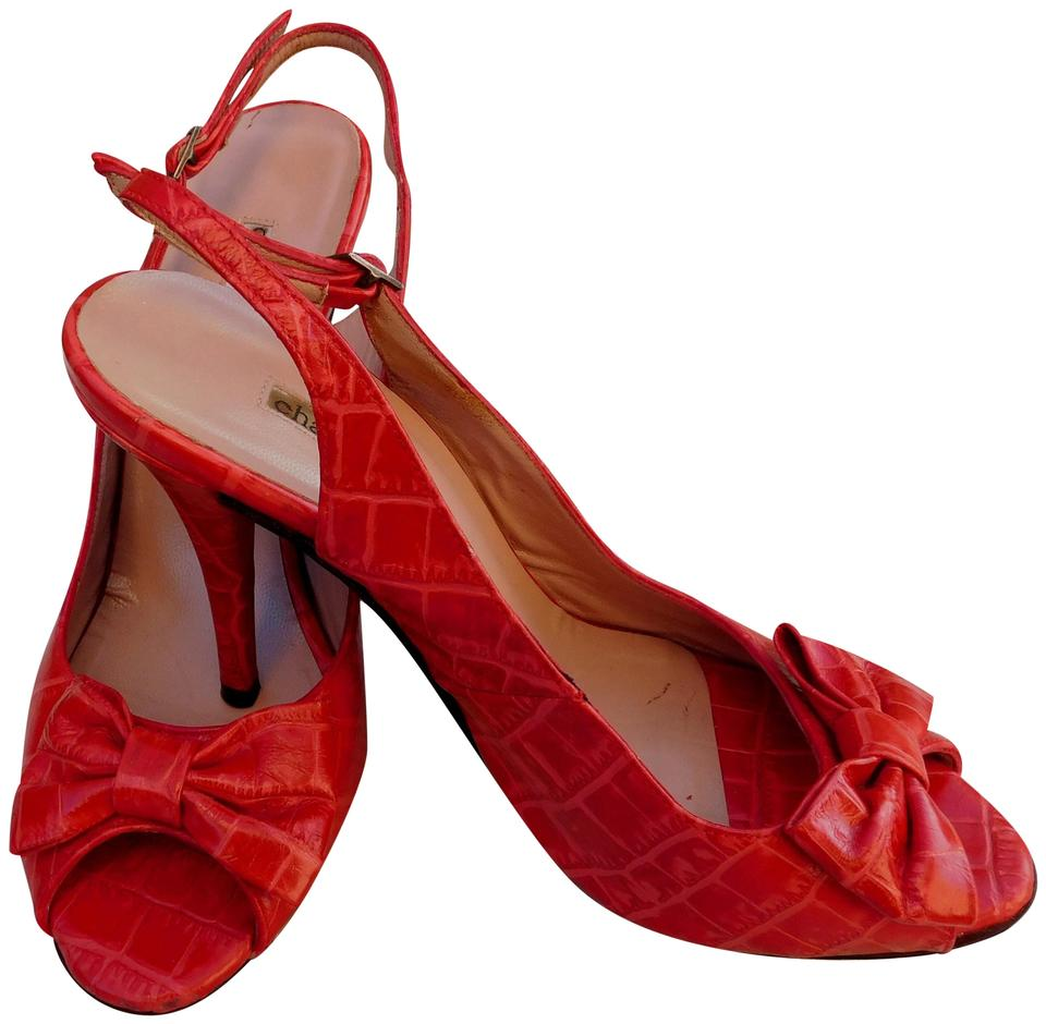 79141c06b15 Charles David Red Croco Leather Sandals Heels Bow 9b Made In Spain Pumps