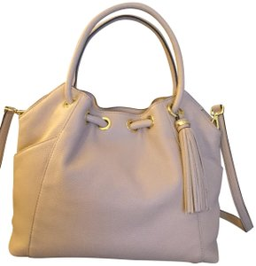 Michael Kors Leather / Cross Body Pebbled Leather Tassel Tote in Blush