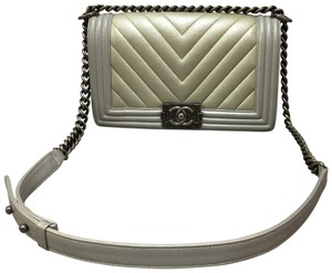 Chanel Boy Caviar Shoulder Satchel in slivery