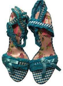 Betsey Johnson White/Teal Blue Sandals