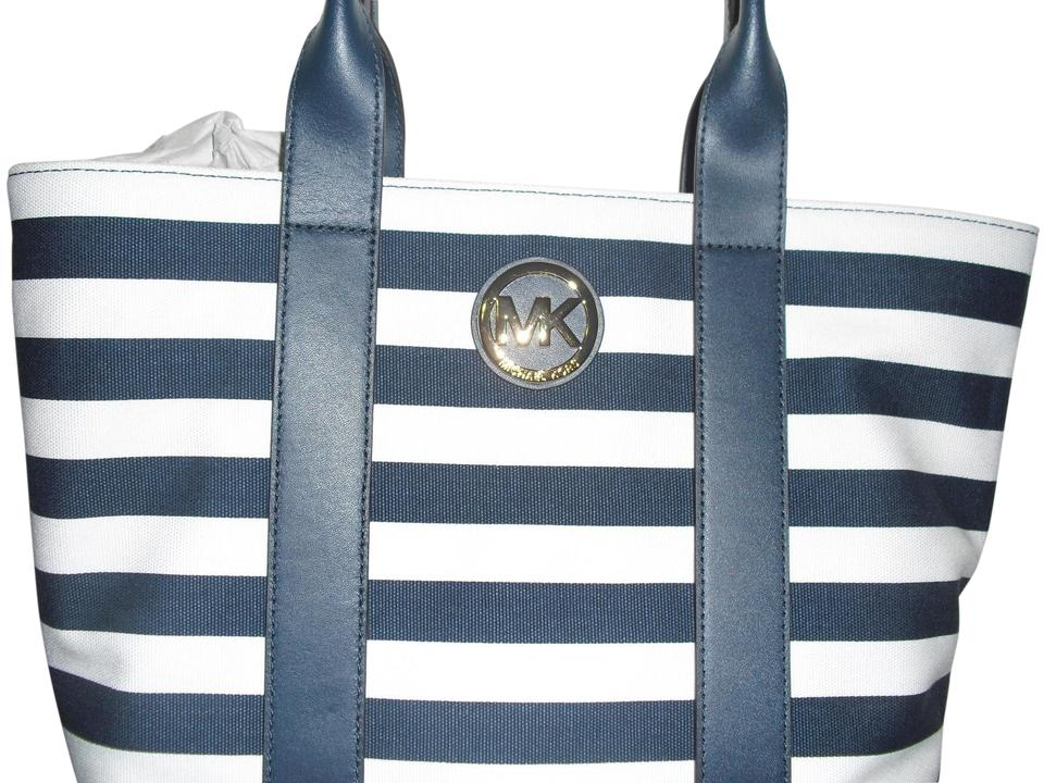 9688203187 Michael Kors Striped Navy Wht Canvas Tote