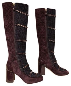 Chanel Tweed Chain Stiletto burgundy Boots