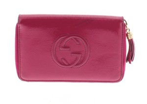 Gucci Gucci Pink Patent Leather Medium Soho Zippy Wallet