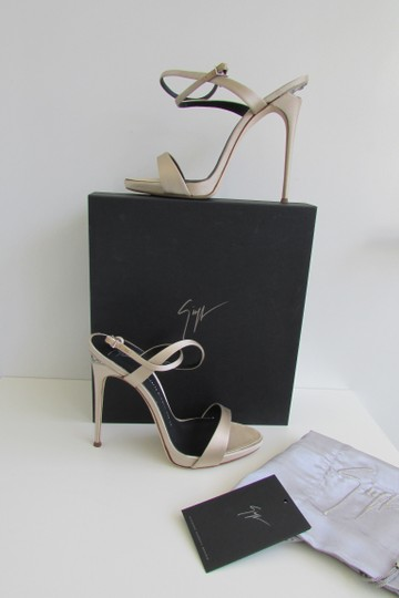 Giuseppe Zanotti Champagne Satin Crystal Sculptured Heel Sandals Image 10