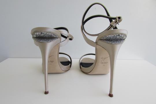 Giuseppe Zanotti Champagne Satin Crystal Sculptured Heel Sandals Image 3