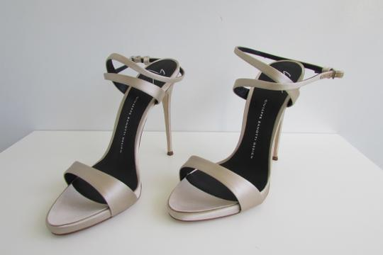 Giuseppe Zanotti Champagne Satin Crystal Sculptured Heel Sandals Image 6