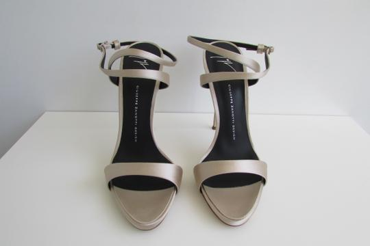 Giuseppe Zanotti Champagne Satin Crystal Sculptured Heel Sandals Image 7