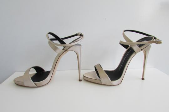 Giuseppe Zanotti Champagne Satin Crystal Sculptured Heel Sandals Image 8