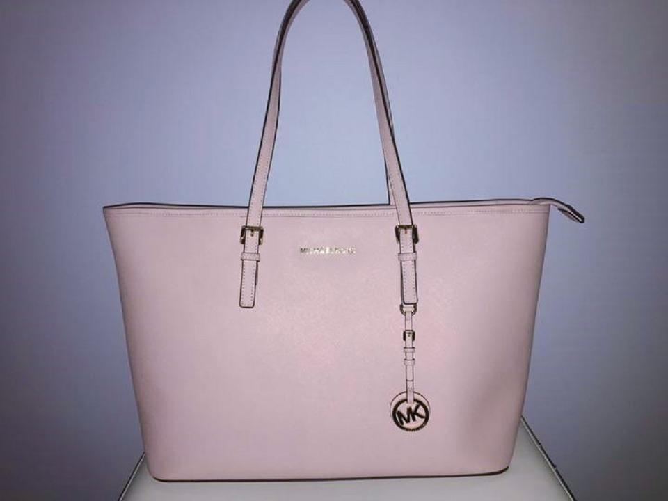 2cab1ab4813267 MICHAEL Michael Kors Travel Leather Tote in Ballet Pink Image 5. 123456