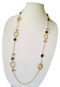 Jennifer Lopez 2 Piece Set Purple & Black Enamel With Crystal & Gold-Tone Necklace & Earrings