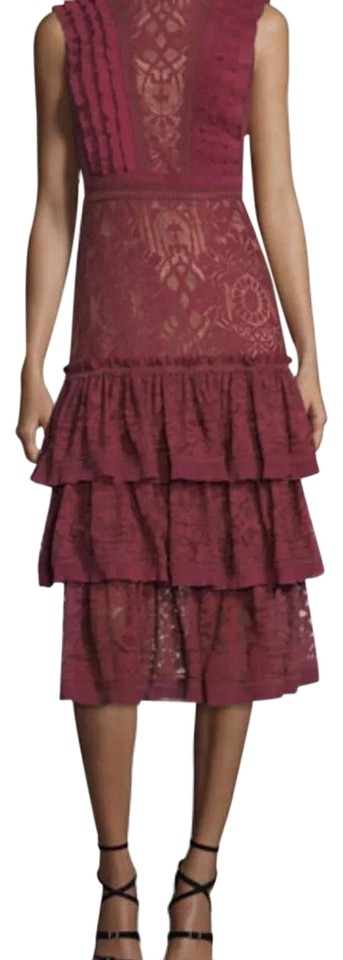 4898cfaa36a Jonathan Simkhai Tower Tiered Ruffle Lace Mid-length Formal Dress Size 8  (M) 70% off retail