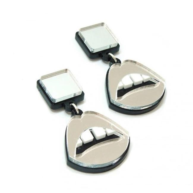 Item - Silver Mirrror/ with Black Back Club Vintage Acrylic Mouth Women Stud Punk Night Hip Hop Earrings