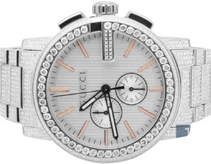 4540a88b3da Gucci Stainless Steel Mens 44 Mm 101 G-chrono Rose Iced Out Diamond ...