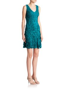 Theia Blue Petal V-neck Dress