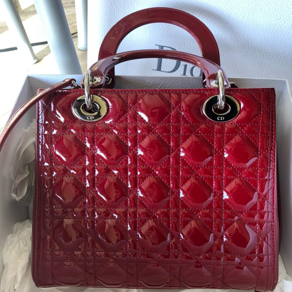 Dior Lady Dior In Cherry Red Cannage Calfskin Wine Patent Leather ... d541c0d5b88ce