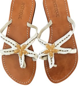 Mystique Boutique white with gold beading and tan leather sole Sandals