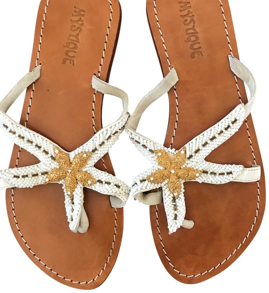 fbf3113725594b Mystique Boutique White with Gold Beading and Tan Leather Sole Flip Flops  Beaded Starfish Sandals