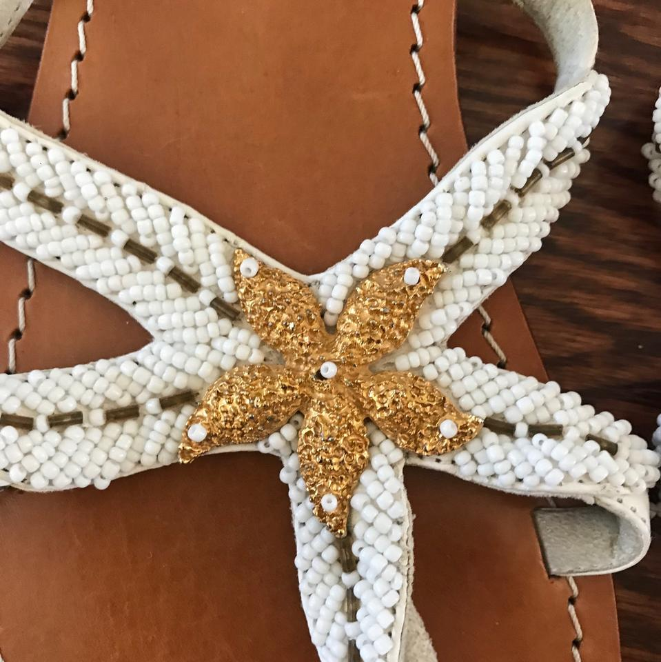 d183ddba3b9e7 Mystique Boutique White with Gold Beading and Tan Leather Sole Flip Flops  Beaded Starfish Sandals Size US 8 Regular (M