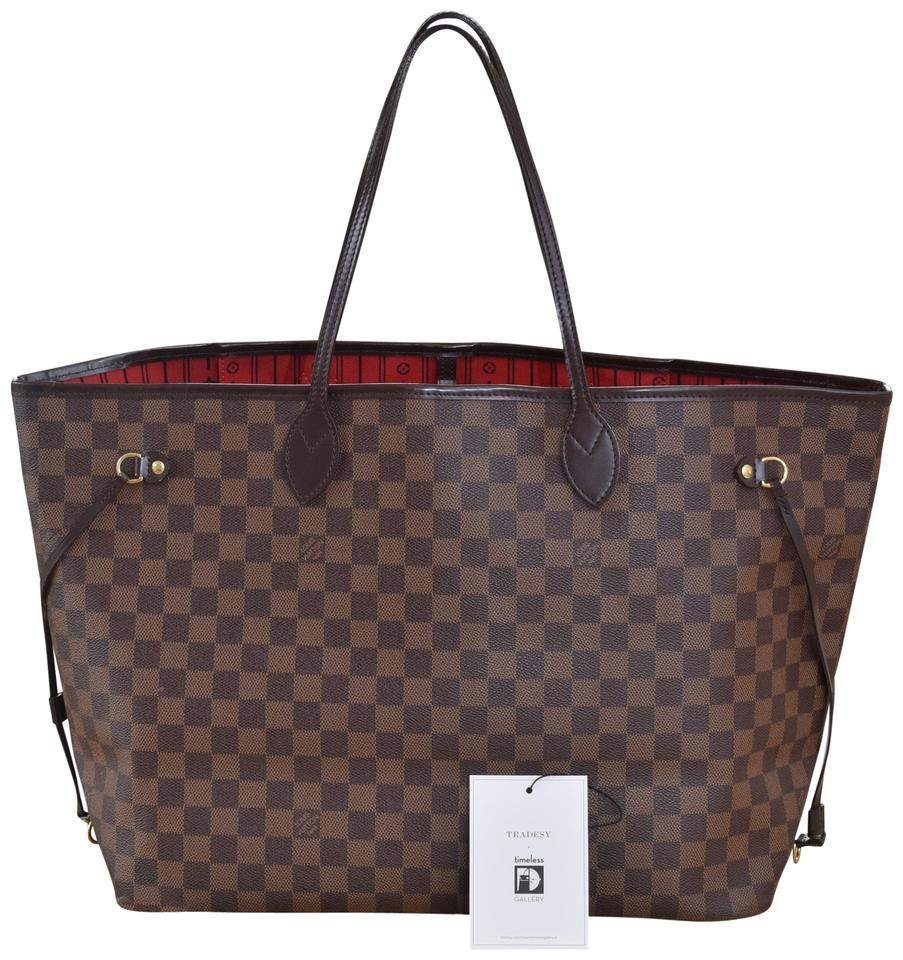 Louis Vuitton Neverfull Gm In Damier Ebene with Cherry Textile Lining  Coated Canvas   Leather Tote e8f8ccce899fe
