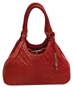 Cole Haan Woven Weave Leather Tote in Orange Red