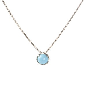 David Yurman Chatelaine Pendant Necklace w/ 8mm Turquoise $325 NWOT