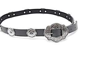 B-Low the Belt B-LOW THE BELT Black Leather Belt with Antique Silver Southwestern