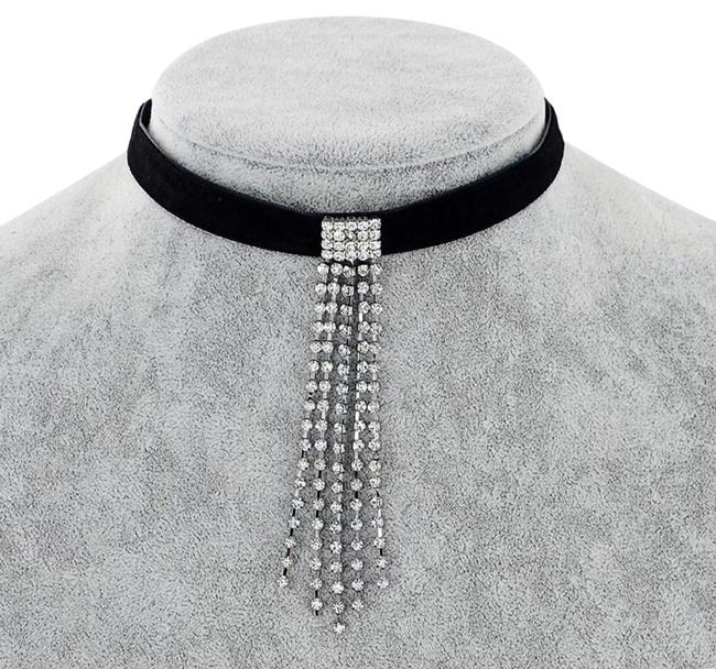 Item - Black Crystal New Punk Leather Tassel Chokers Necklace