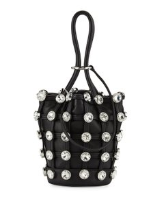 Alexander Wang Leather Studded Silver Hardware Bucket Clutch Tote in Black