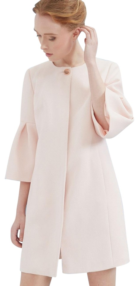 0359038211dbb Ted Baker Baby Pink Macea Textured Bell Sleeve Coat Size 6 (S) - Tradesy