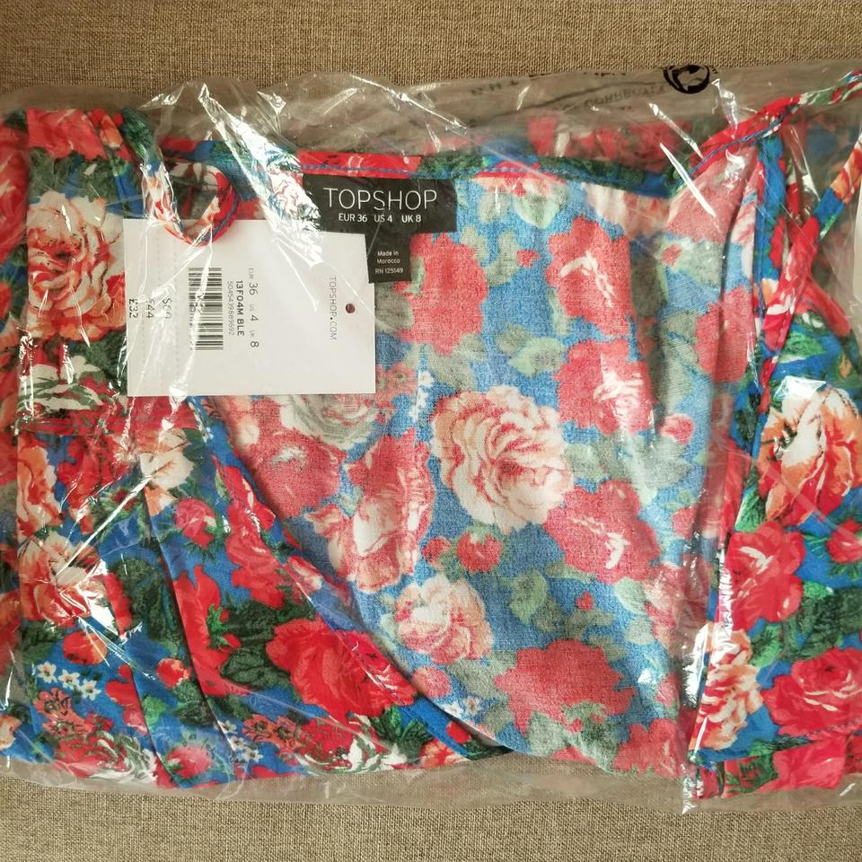65bdbee4b93bf Topshop Floral Cold Shoulder Wrap Blouse Size 4 (S) - Tradesy
