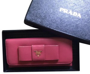 9e79c4f4172e Prada Prada Coral/Pinkish/Reddish Leather Long Wallet Purse w/ box