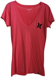 Hurley Valentine's Day V-neck Sleeves Stripes T Shirt Red