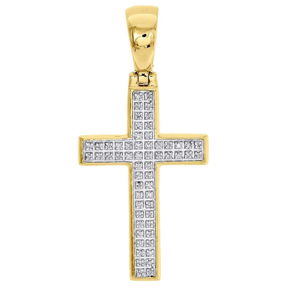 Jewelry for less yellow gold 10k genuine diamond cross pendant 165 jewelry for less yellow gold 10k genuine diamond cross pendant 165 pave 16 ct charm aloadofball Image collections