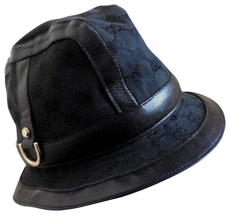 Gucci GUCCI Italy Double GG Black Cotton Leather Trimmed Bucket Hat M ... e32d2659033