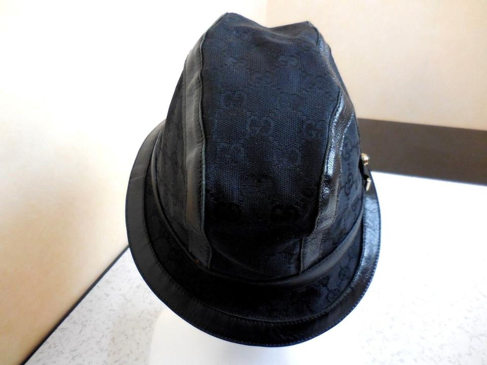 378782e93 Gucci Black Italy Double Gg Cotton Leather Trimmed Bucket M Hat ...
