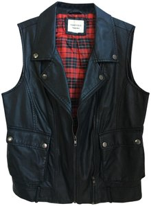 Forever 21 Plaid Valentines Day Leather Vest