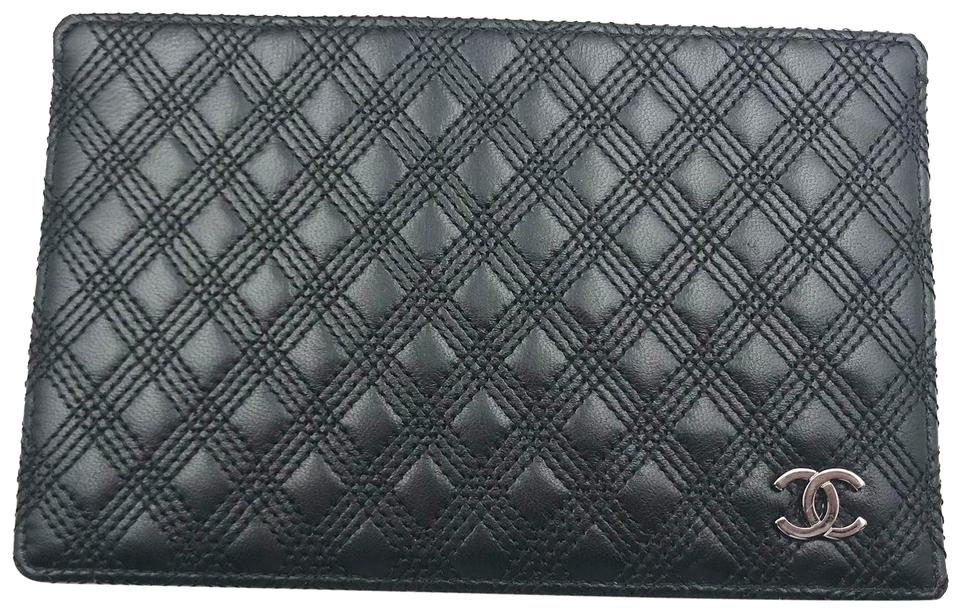55d6c751b052cb Chanel Chanel Black Triple Stitching 1 Side Large Card Holder Image 0 ...