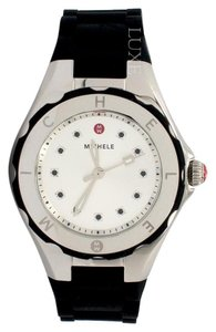 Michele 35mm Tahitian Jelly Bean Silver Dial Rubber Watch
