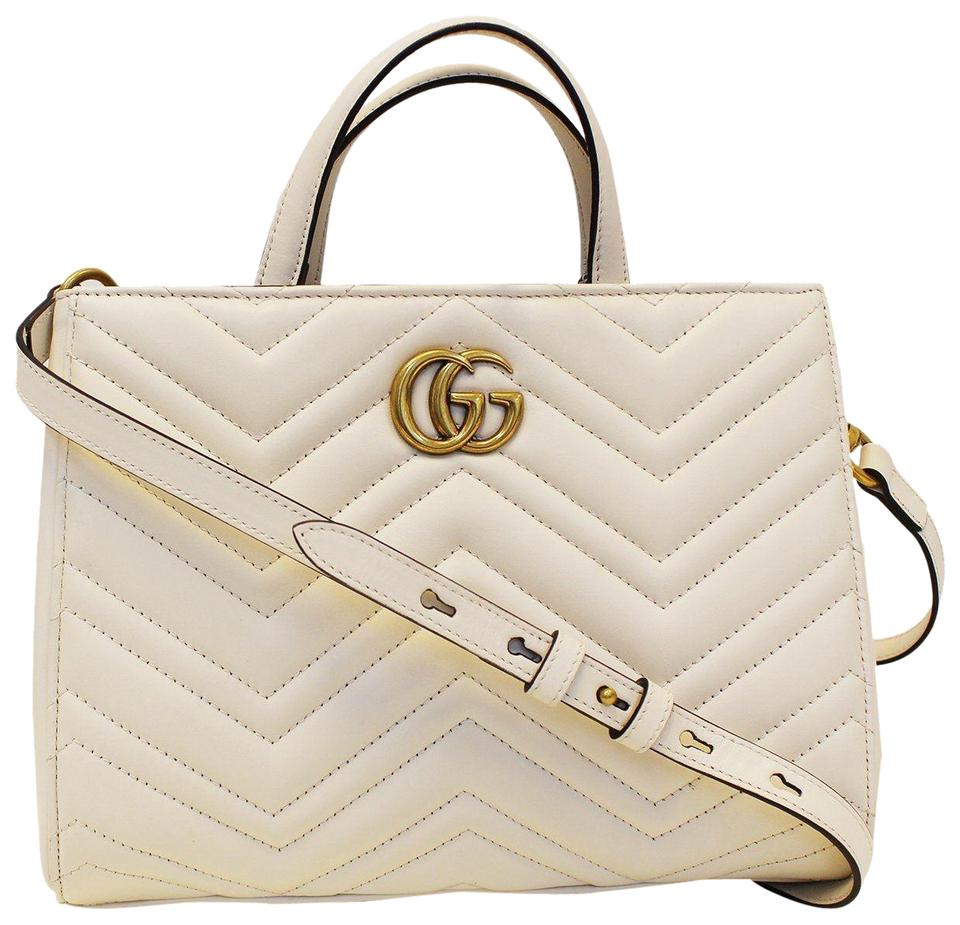 c1c779342447 Gucci Marmont Gg Small Matelassé Top Handle Tote 448054 White ...