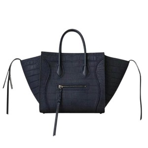 Céline Nano Luggage Phantom Croc Satchel in navy