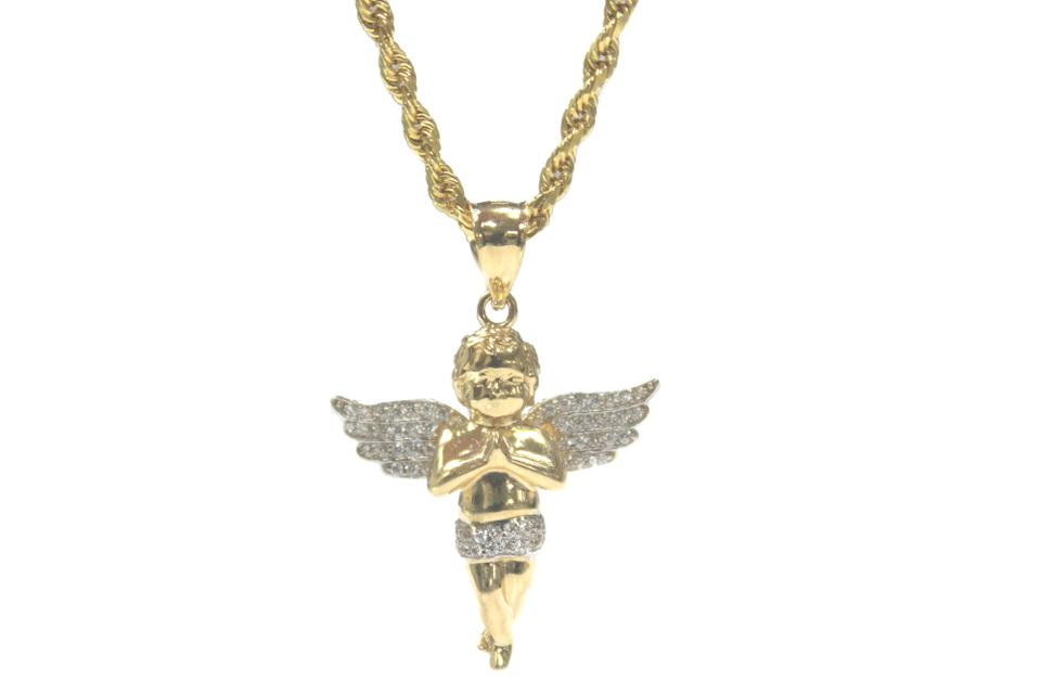 Yellow gold 14k rope chain with cubic zirconia angel charm pendant other 14k yellow gold rope chain with cubic zirconia angel charm pendant aloadofball Gallery