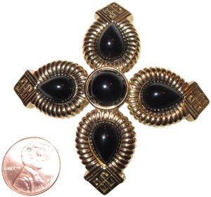 Givenchy Vintage Large Maltese Cross Pin Gold Tone or Plated Black Cabochons