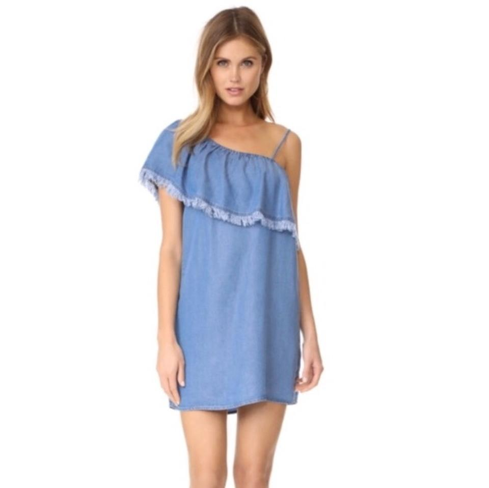 c63856cf00a4 Splendid Indigo Denim One Shoulder Short Casual Dress Size 8 (M ...