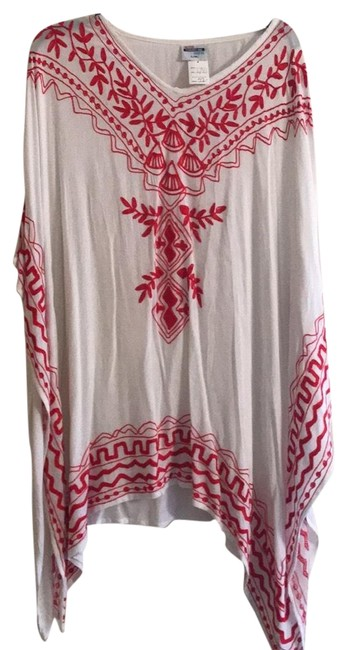 Item - White & Red Embroidered Cover-up/Sarong Size 14 (L)