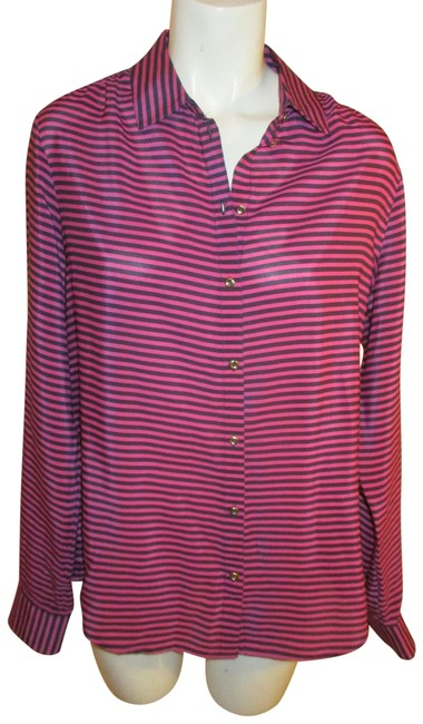 Item - Pink & Black Silk Striped Button-down Top Size 8 (M)