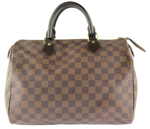 Louis Vuitton Brown Canvas Tote in Damier Ebene
